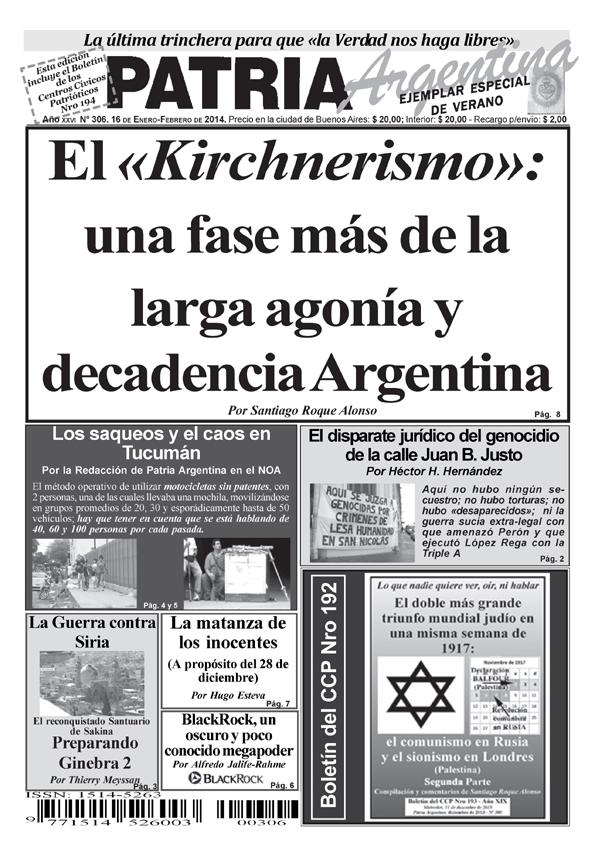 Periódico - Patria Argentina de enero-febrero de 2014 - Número 306 - Año XXVII