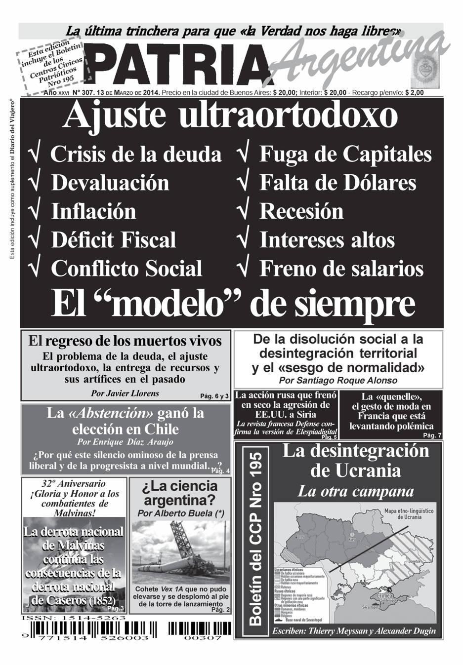 Periódico – Patria Argentina de Marzo de 2014 – Número 307 – Año XXVII