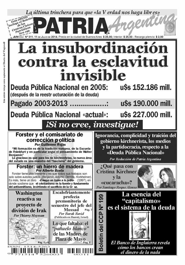 Periódico – Patria Argentina de Junio de 2014 – Número 311 – Año XXVII
