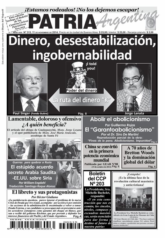 Periódico – Patria Argentina de Noviembre de 2014 – Número 315 – Año XXVII