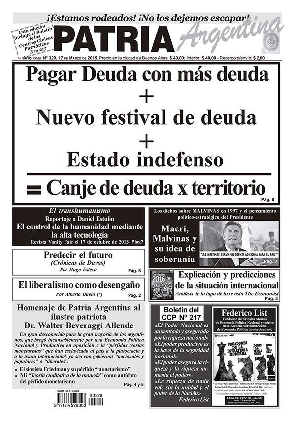 Periodico – Patria Argentina de Marzo de 2016 – Número 329 – Año XIX,