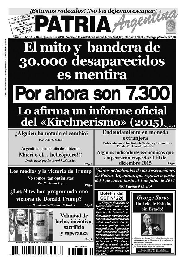 TAPA Patria Argentina Nº 338 Diciembre 2016