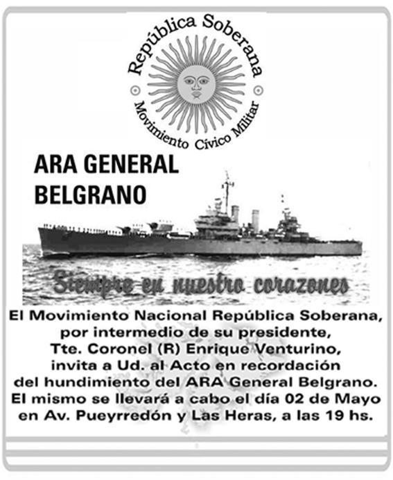 Aviso Acto 2 de Mayo - Crucero Belgrano
